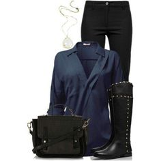 Black and blue outfit for work