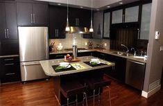 Cocinas Modernas Pequeñas sin Gabinete Decoración de Interiores #decoracioncocinaspequeñas
