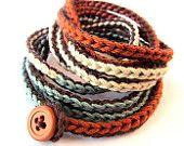 Crochet wrap bracelet in teal and copper, spring fashion, cotton bracelet, crochet jewelry, fiber jewelry, bohemian jewelry, cuff bracelet