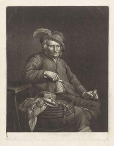 John Greenwood | Man met een pijp en een flesje, John Greenwood, 1739 - 1792 | Een man met een pijp zit naast een ton waarop een vis, een brood en een ui liggen. In zijn hand een flesje met drank.