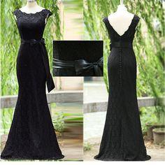 Elegant Sheath Jewel Lace Long Black Evening/Prom Dress With Appliques Sash