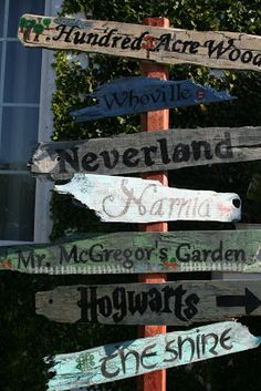 Literary Signpost to Fantasy Lands - Instructions included - McClellan Clan