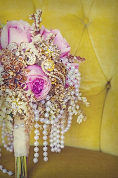 WOW! love flowers and jewels, bridal bouquet