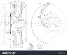 Part wheel of engineering sketch with blades, hatching, lines, angle degrees and numbers. Vector image