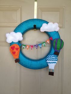 Yarn wreath for front door /hot air balloon party