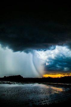 Cloudy and rain storm beach
