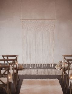Minimal macrame ceremony backdrop