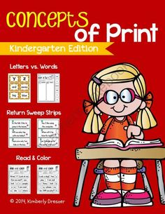 Concepts of Print. Letter vs. Word vs. Sentence & Return Sweep Practice. from Kimberly's Kindergarten on TeachersNotebook.com - (30 pages) - This pack helps increase your students' understanding of concepts of print which is crucial for their reading success. These activities can be printed on card stock and laminated for repeat use.