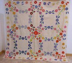 Spectacular 1930s Floral Applique Quilt Top Berks County Pennsylvania LARGE RARE