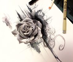 Rose design drawing by Katy Lipscomb Art | No. 1447