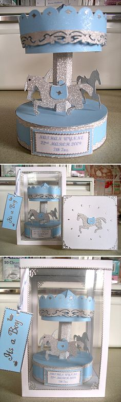 Carousel by Wendy Lewis, using a card making template from Card Carousel. Carnival Themes, Circus Theme, Party Themes, Wendy Lewis, Card Making Templates, Putz Houses, Display Boxes, Making Ideas, 3 D