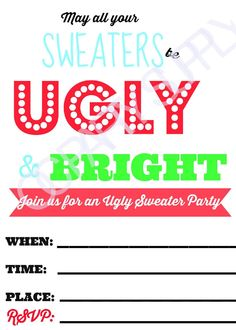 Ugly Christmas Sweater Party Invitations FREE Downloads Ugly