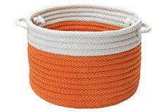 Color-Block Basket, Orange/White