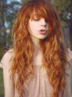 Peasant long wavy ginger hair with bangs