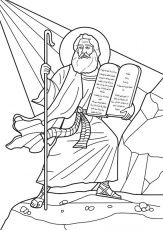 Moses receives the Ten Commandments. Bible coloring page