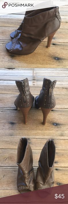 Guess Open Toe Booties Brown boots with rock stud detail and zipper heel. Great condition. G by Guess Shoes Ankle Boots & Booties