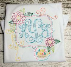 Redwork Flower Frame Embroidery Design