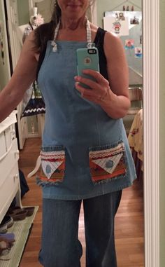 25d60ca19ef Handmade Studio Kitchen Apron Repurposed Denim   Fringed Pockets🍒Made In  Texas