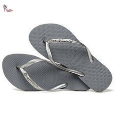 Havaianas Slim Logo Metallic Crystal Femme Sandales Gris - Chaussures havaianas (*Partner-Link)