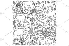 Asia Nature Set   Seamless Pattern Graphics Asian animals and plants coloring and seamless pattern.ZIP include:- 2 Vector Files EPS 10;- 2 by Elena Lux