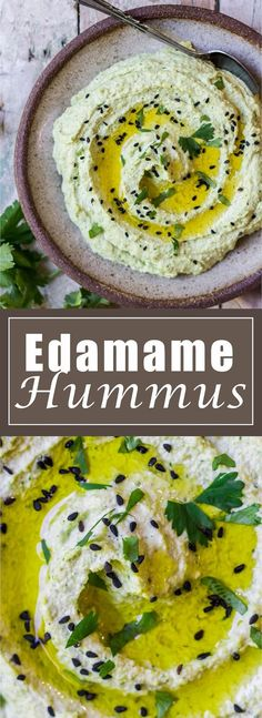 Hummus This edamame hummus will become your new favourite dip! Easy to make, healthy, and delicious! (Vegan+ Gluten-free)This edamame hummus will become your new favourite dip! Easy to make, healthy, and delicious! Clean Eating Recipes, Raw Food Recipes, Vegetarian Recipes, Cooking Recipes, Healthy Recipes, Vegetable Recipes, Vegan Appetizers, Appetizer Recipes, Dinner Recipes