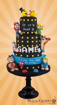 Gaming Wedding Cake ~ Featuring Mr and Mrs Pacman, Mario, Link, Sonic, Crash, Donkey Kong, a pacman ghost and a Lemmin