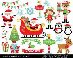 The Santas Workshop Christmas Digital Clip Art Set includes 20 PNG files with transparent backgrounds and 20 JPG files with white backgrounds. All