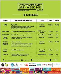 Contemporary Arts Week this October. With highlighting art as the prime focus the festival will be has 450 artists on board performing at 15 different venues with 55 events covering 12 different genres.  Covering a wide range of art forms the week long event encompasses all ranging from - dance music theatre puppetry clowning mime along with visual arts short films photography slam poetry short films stand-up mixed media to #streetart  Here is the list of venues and dates you need to keep in…