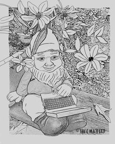 Tech Gnome,Garden, Adult Coloring Pages, Coloring Page Printable, Digital Download, Coloring Book, Adult coloring, Adult Coloring Book by JcwPrism on Etsy