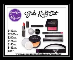 This collection includes: 1 Moodstruck 3D Fiber Lashes+ 1 Moodstruck Opulence Lipstick 1 Moodstruck Precision Pencil 1 Moodstruck Minerals Pressed Blusher 1 Touch Mineral Pressed Powder or Cream Foundation 1 Splurge Cream Shadow 1 Precision Brow Gel or Liner 1 Younique makeup bag