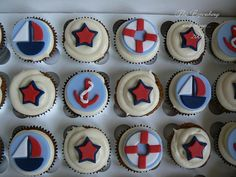 For a baby shower. Nautical Theme Cupcakes, Nautical Party, Fun Cupcakes, Cupcake Cakes, Shoe Cakes, Cupcake Ideas, Cupcake Toppers, Baby Shower Cupcakes For Boy, Baby Shower Cakes