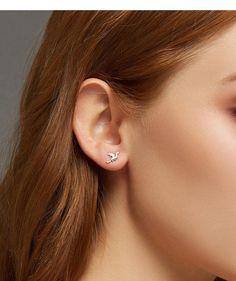VOROCO Fashion Pink Flower Cuff Earring 925 Sterling Silver Fresh Style Earring