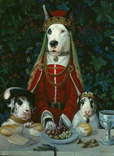 "Anthropomorphic art ""Quinns Jewels"" by Melinda Copper Custom Dog Portraits, Pet Portraits, Costume Chien, Les Fables, Dog Artwork, Human Art, Animal Heads, Pet Clothes, Animal Paintings"