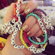 Glass bead bad word by HeartLesCreations Rave Bracelets, Pony Bead Bracelets, Friendship Bracelets With Beads, Trendy Bracelets, Summer Bracelets, Pony Beads, Word Bracelets, Jewelry Bracelets, Jewelery