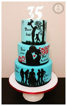 """""""Story of a Man"""" Cake """"Story of a Man"""" Cake 60th Birthday Cake For Men, 40th Cake, Dad Cake, Happy Birthday Cakes, Birthday Cards, Cake Story, Story Story, Silhouette Cake, Birthday Cake Decorating"""