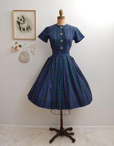 ON SALE 30  Vintage 50s Dress  1950s Striped by BohemianBisoux, $50.40
