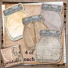 Download Free Printable Vintage Mason Jars