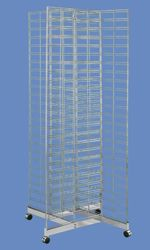 Chrome 4-Way Slat Grid Rack with Base and Casters
