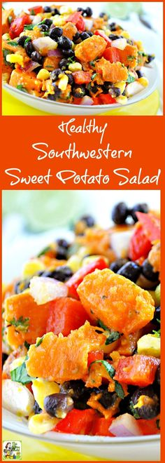 Try this Healthy Southwestern Sweet Potato Salad recipe! This cold sweet potato recipe is ideal for summer bbqs and potluck parties. It's not only healthy but gluten free and easy to make! Cold Sweet Potato Recipe, Salad With Sweet Potato, Sweet Potato Recipes, Potato Salad, Healthy Salad Recipes, Healthy Snacks, Vegetarian Recipes, Cooking Recipes, Pasta Recipes