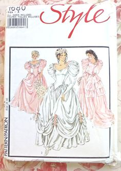 Style 1680. This vintage 1980s womens full skirt wedding dress pattern is for all sizes (8-18) and is uncut. Models 1 and 3 have off the shoulder