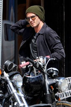 David Beckham spends the day cruising around Venice, California on his Super Vintage 93? Knuckle motorbike, LA