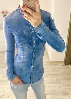 Rifľová košeľa s golierikom Denim Button Up, Button Up Shirts, Jackets, Tops, Women, Fashion, Down Jackets, Moda, Fashion Styles