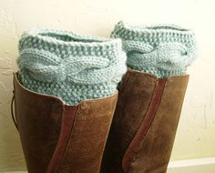 Boot cuffs - Legwarmers - Cable knit boot toppers  - Mint legwarmers - Winter Fashion - Machine Washable - pastel green