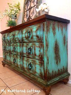 Victorian Furniture, Vintage Furniture, Repurposed Furniture, Painted Furniture, Colorful Dresser, Boho Room, Cottage Farmhouse, Custom Paint, Vintage Home Decor