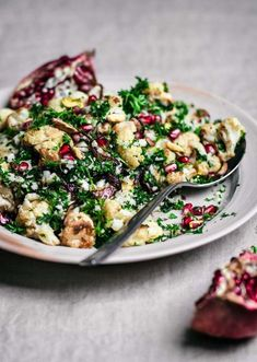 Cauliflower salad with raw and roasted cauliflower, pomegranate, & pistachios. With cumin, lemon, olive oil, & herbs, this is a simple, hearty winter salad. Vegetarian Recipes Dinner, Healthy Recipes, Veggie Recipes, Dinner Recipes, Cooking Recipes, Oven Recipes, Vegetarian Cooking, Easy Recipes, Healthy Food