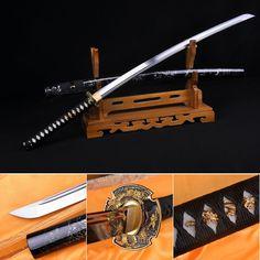 functional hand made full tang black carbon steel alloy tsuba practical Katana with bo hi Japanese Samurai Sword black saya