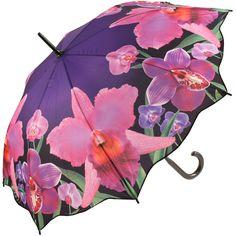 Galleria Art Print Walking Length Umbrella - Orchids - Brolliesgalore