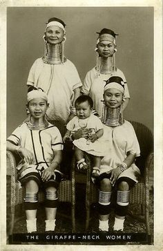 Tribal Traditions: neck rings in order to make the women more beautiful. women of the Kayan people begin to wear neck coils from as young as age two.they push down the collar bones and ribs to elongate the neck