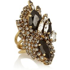 Erickson Beamon + Aerin Swarovski crystal cocktail ring ($170) ❤ liked on Polyvore featuring jewelry, rings, accessories, jewels, anel, black, clear rings, swarovski crystals jewelry, swarovski crystal jewelry and statement rings