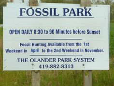 entrance sign for Fossil Park in Ohio